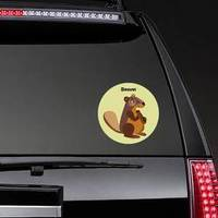 Colorful Decorative Beaver Sitting On Green Sticker