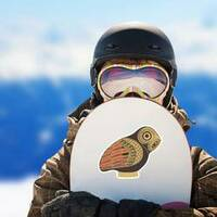 Ancient Greek Owl Sticker on a Snowboard example