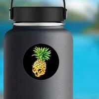 Pineapple Skull Sticker on a Water Bottle example