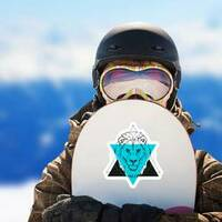 Triangle Lion Illustration Sticker on a Snowboard example