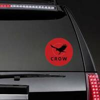 Crow Bird Logo In Red Sticker example