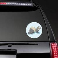 Ferret Cartoon Weasel Animal On Light Blue Background Sticke