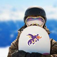Cute Happy Flying Baby Dragon Blowing Fire on a Snowboard example