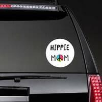 Hippie Mom Sticker on a Rear Car Window example