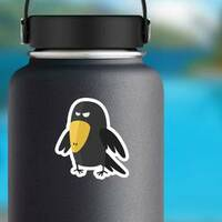 Evil Crow Bird In Cartoon Style Sticker example
