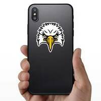 Cartoon Eagle Head Sports Mascot Sticker on a Phone example