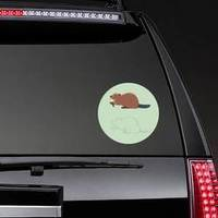 Funny Beaver Illustration On Green Sticker