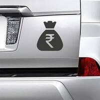 Standard Rupee Money Bag Sticker on a Car Bumper example