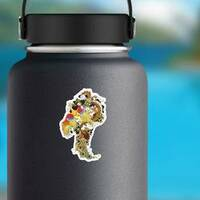 Chinese Jade Dragon And Golden Phoenix Feng Huang Sticker on a Water Bottle example