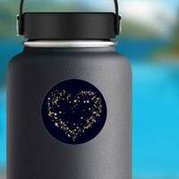 Gold Stars Heart Sticker on a Water Bottle example