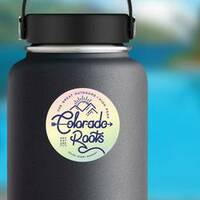 Colorado Roots The Great Outdoors Rainbow Sticker on a Water Bottle example