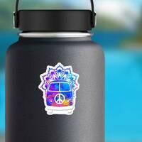 Hippie Vintage Car Mandala Hippie Sticker on a Water Bottle example