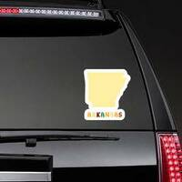 Map Of Arkansas With Cute Lettering Sticker on a Rear Car Window example