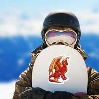 Majestic Red Dragon Sticker on a Snowboard example