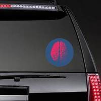 Red Engraving Brain Illustration In Top View Sticker