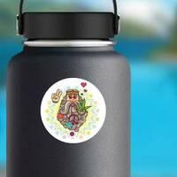 Cartoon Illustration Of Hippie Man Sticker on a Water Bottle example