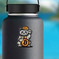 Lucky Cat Bitcoin Sticker on a Water Bottle example