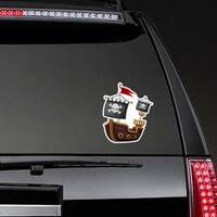 Pirate Ship Jolly Roger Flag Sticker on a Rear Car Window example