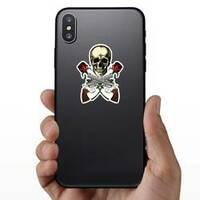 Skull with Crossed Guns and Roses Sticker on a Phone example