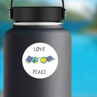Love And Peace Winged Glasses Sticker on a Water Bottle example