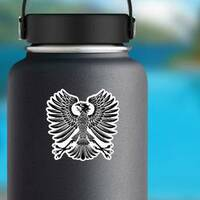 Heraldic Style Eagle Sticker on a Water Bottle example