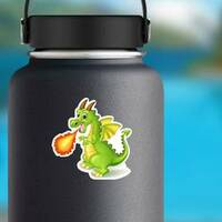 Cartoon Dragon With Fire on a Water Bottle example