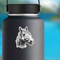 Horse Head Sketch Sticker on a Water Bottle example