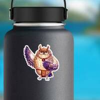 Watercolor Hawaii Dance Owl Sticker on a Water Bottle example