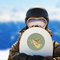 Retro Style Christmas Angel Sticker on a Snowboard example
