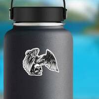 Eagle And Skull Sticker on a Water Bottle example