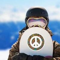 Hippie Style Ornamental Watercolor Peace Sign Sticker on a Snowboard example
