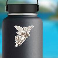 Beautiful Angel Muse Illustration Sticker on a Water Bottle example