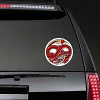 Infinity Red Dragon Circle Sticker on a Rear Car Window example