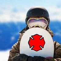 Firefighter Emblem Cross Shape Sticker on a Snowboard example