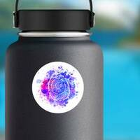Watercolor Turtle Shell Sticker on a Water Bottle example