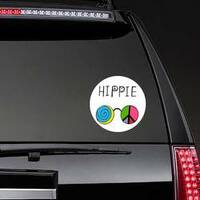 Spiral and Peace Sign Hippie Glasses Sticker on a Rear Car Window example