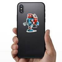 Retro Robot With Jetpack Sticker on a Phone example