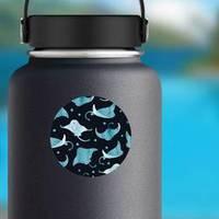 Cute Blue Watercolor Stingray Pattern Sticker