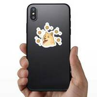 Doge Coin Illustration Sticker on a Phone example