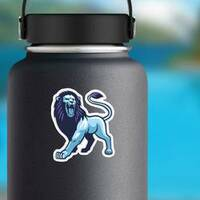 Blue and Purple Roaring Lion Mascot Sticker on a Water Bottle example