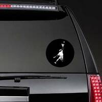 Baseball Player Reaching To Catch Ball White Silhouette Sticker example