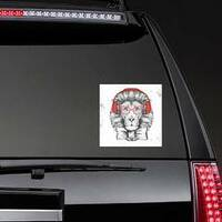 Hipster Lion With Glasses Sticker on a Rear Car Window example