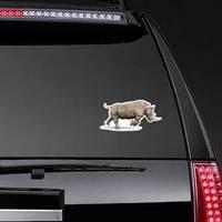 Rhino Running On White Background Illustration Sticker example