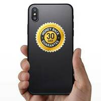 30 Day Money Back Guarantee Badge Sticker on a Phone example