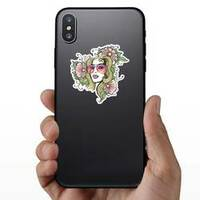 Girl In Glasses And Flowers Hippie Sticker on a Phone example
