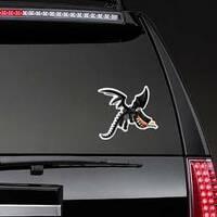 Cute Happy Flying Black Dragon Sticker on a Rear Car Window example