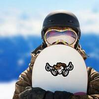 Skull Cowboy Aiming Guns Sticker on a Snowboard example