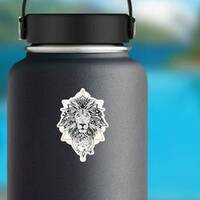 Aztec Style Lion Sticker on a Water Bottle example