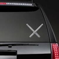 Crossed Drumsticks Sticker on a Rear Car Window example