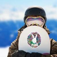 Hippie Ornamental Peace Sticker on a Snowboard example